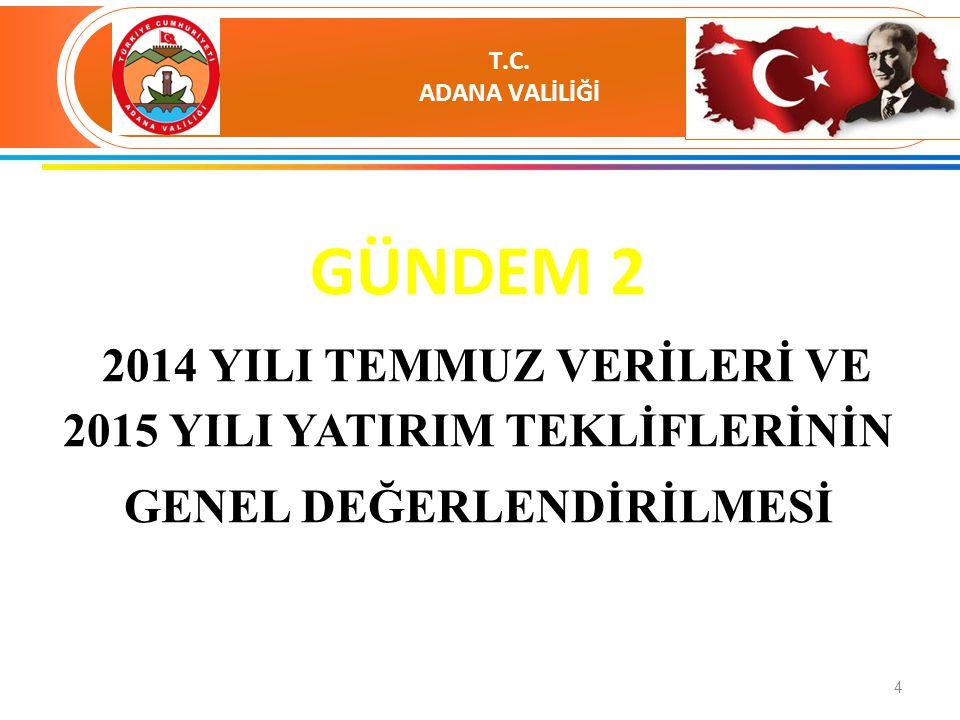 5 2014 YILI ADANA İLİ YATIRIMLARI GENEL DEĞERLENDİRME TABLOSU Proje Say.