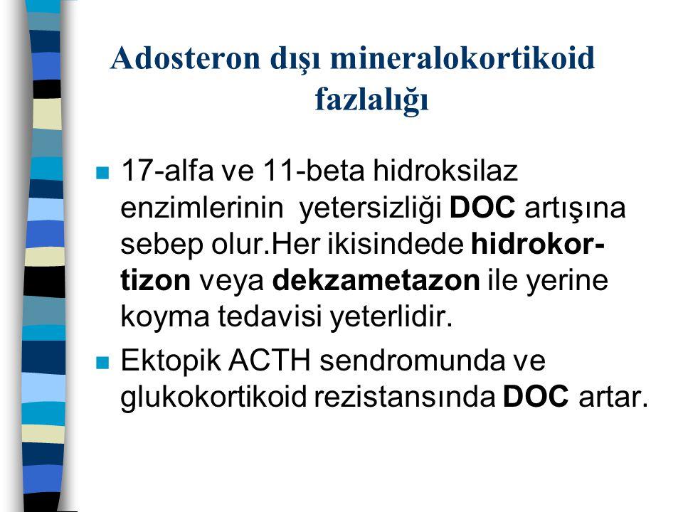 Adosteron dışı mineralokortikoid fazlalığı n 17-alfa ve 11-beta hidroksilaz enzimlerinin yetersizliği DOC artışına sebep olur.Her ikisindede hidrokor-