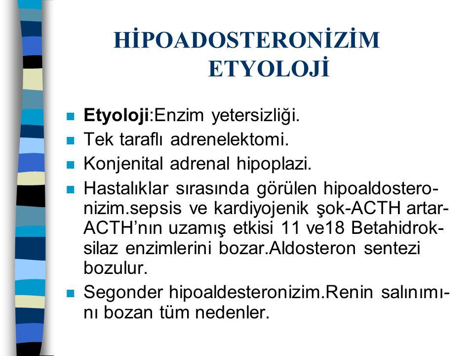 HİPOADOSTERONİZİM ETYOLOJİ n Etyoloji:Enzim yetersizliği. n Tek taraflı adrenelektomi. n Konjenital adrenal hipoplazi. n Hastalıklar sırasında görülen
