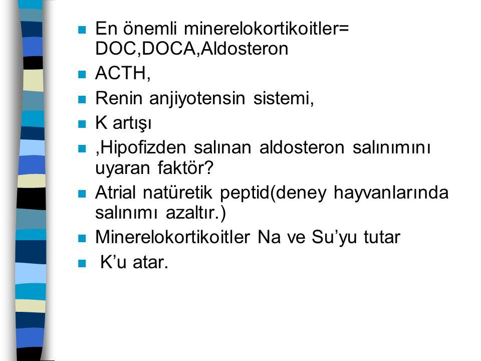 n En önemli minerelokortikoitler= DOC,DOCA,Aldosteron n ACTH, n Renin anjiyotensin sistemi, n K artışı n,Hipofizden salınan aldosteron salınımını uyar