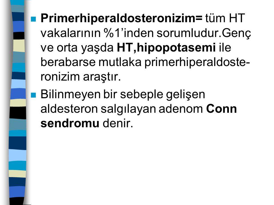 n Primerhiperaldosteronizim= tüm HT vakalarının %1'inden sorumludur.Genç ve orta yaşda HT,hipopotasemi ile berabarse mutlaka primerhiperaldoste- roniz