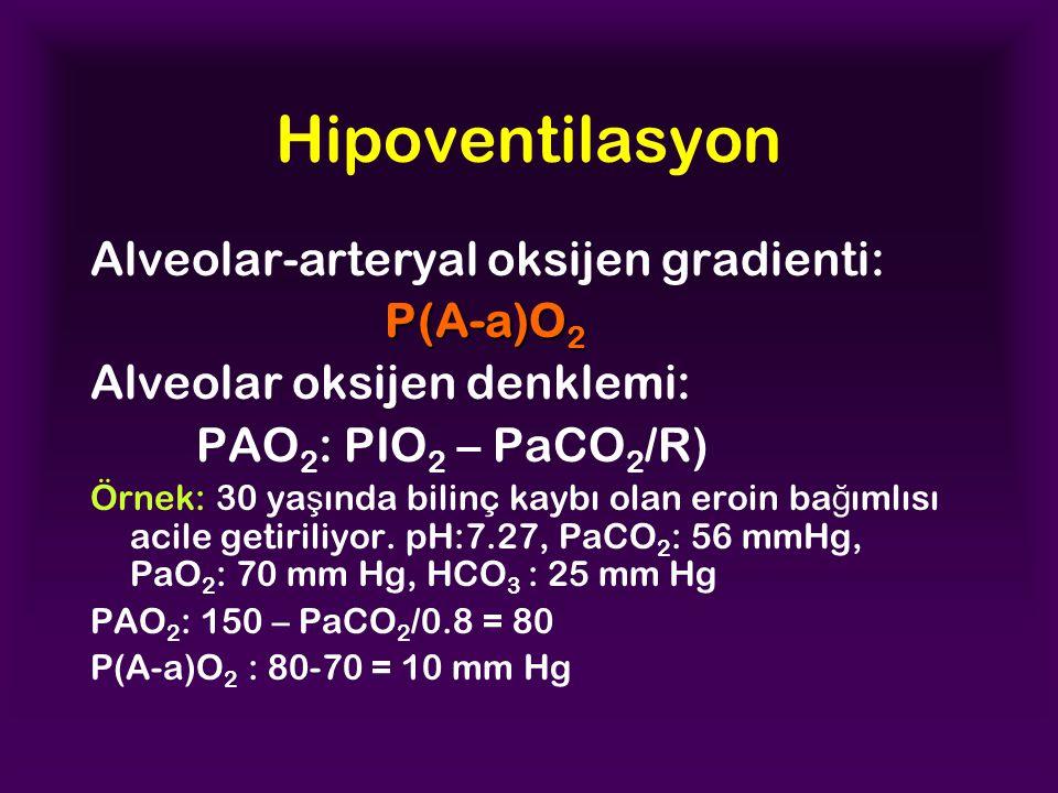 Hipoventilasyon Alveolar-arteryal oksijen gradienti: P(A-a)O 2 Alveolar oksijen denklemi: PAO 2 : PIO 2 – PaCO 2 /R) Örnek: 30 ya ş ında bilinç kaybı olan eroin ba ğ ımlısı acile getiriliyor.