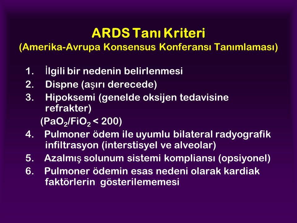 ARDS Tanı Kriteri ARDS Tanı Kriteri (Amerika-Avrupa Konsensus Konferansı Tanımlaması) 1. İ lgili bir nedenin belirlenmesi 2.Dispne (a ş ırı derecede)