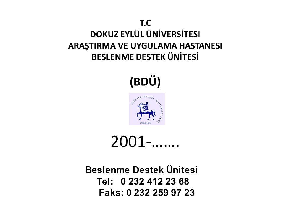 T.C DOKUZ EYLÜL ÜNİVERSİTESI ARAŞTIRMA VE UYGULAMA HASTANESI BESLENME DESTEK ÜNİTESİ (BDÜ) 2001-……. Beslenme Destek Ünitesi Tel: 0 232 412 23 68 Faks: