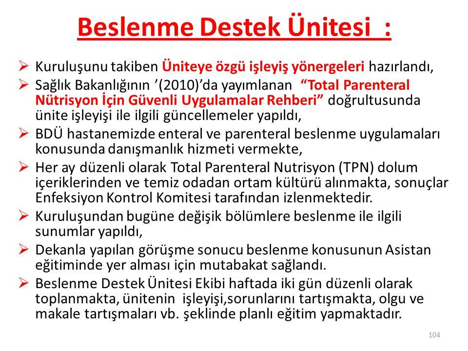 """Beslenme Destek Ünitesi :  Kuruluşunu takiben Üniteye özgü işleyiş yönergeleri hazırlandı,  Sağlık Bakanlığının '(2010)'da yayımlanan """"Total Parente"""