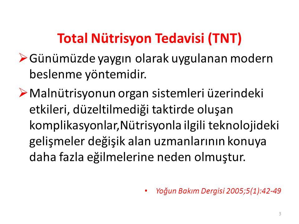 Total Nütrisyon Tedavisi (TNT)  Günümüzde yaygın olarak uygulanan modern beslenme yöntemidir.  Malnütrisyonun organ sistemleri üzerindeki etkileri,
