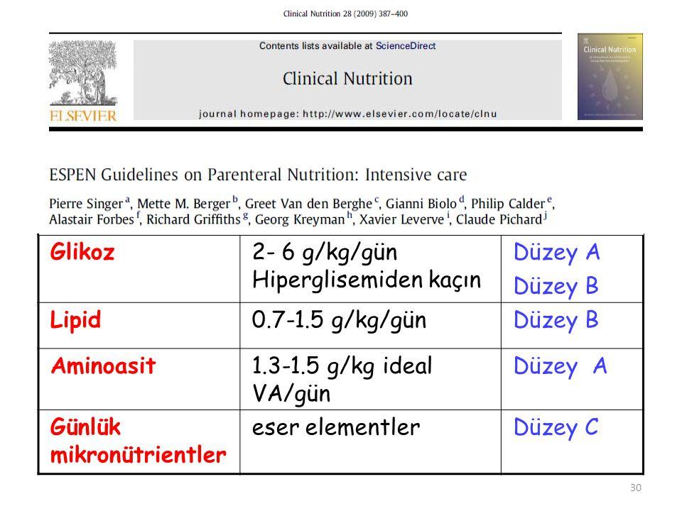 Glikoz2- 6 g/kg/gün Hiperglisemiden kaçın Düzey A Düzey B Lipid0.7-1.5 g/kg/günDüzey B Aminoasit1.3-1.5 g/kg ideal VA/gün Düzey A Günlük mikronütrient