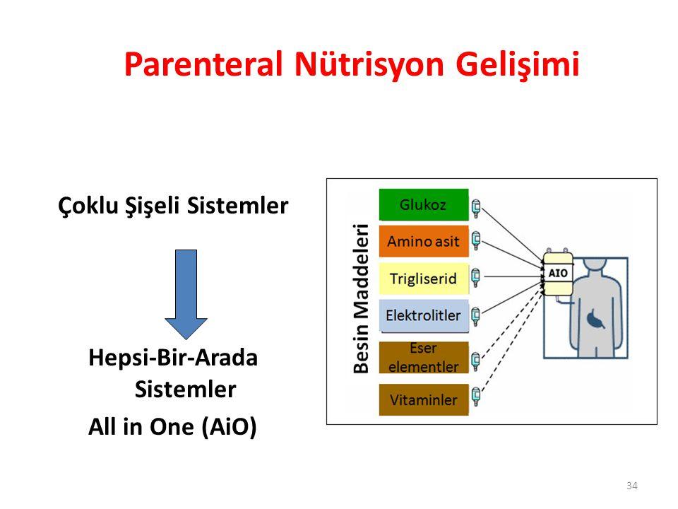 Çoklu Şişeli Sistemler Hepsi-Bir-Arada Sistemler All in One (AiO) Parenteral Nütrisyon Gelişimi 34