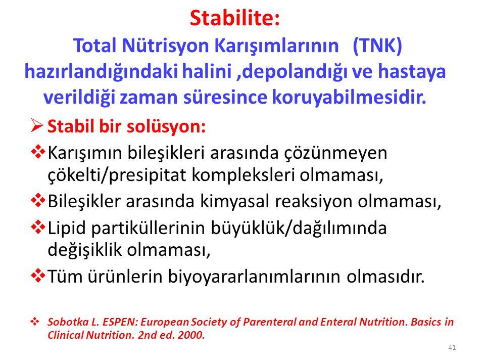 Stabilite: Total Nütrisyon Karışımlarının (TNK) hazırlandığındaki halini,depolandığı ve hastaya verildiği zaman süresince koruyabilmesidir.  Stabil b
