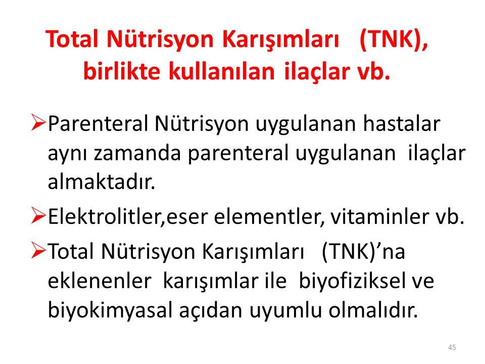 Total Nütrisyon Karışımları (TNK), birlikte kullanılan ilaçlar vb.  Parenteral Nütrisyon uygulanan hastalar aynı zamanda parenteral uygulanan ilaçlar