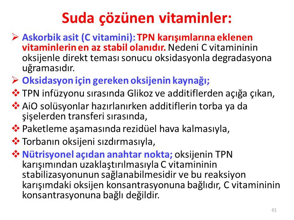 Suda çözünen vitaminler:  Askorbik asit (C vitamini): TPN karışımlarına eklenen vitaminlerin en az stabil olanıdır. Nedeni C vitamininin oksijenle di