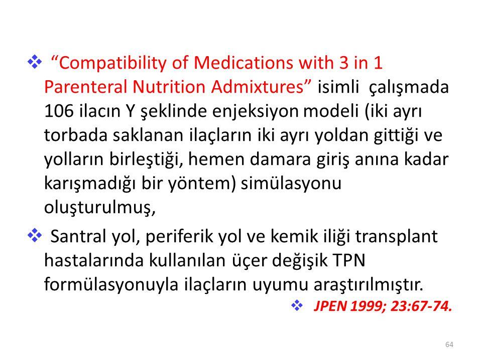 """ """"Compatibility of Medications with 3 in 1 Parenteral Nutrition Admixtures"""" isimli çalışmada 106 ilacın Y şeklinde enjeksiyon modeli (iki ayrı torbad"""