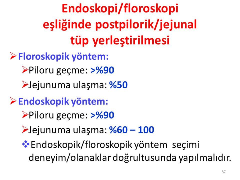 Endoskopi/floroskopi eşliğinde postpilorik/jejunal tüp yerleştirilmesi  Floroskopik yöntem:  Piloru geçme: >%90  Jejunuma ulaşma: %50  Endoskopik