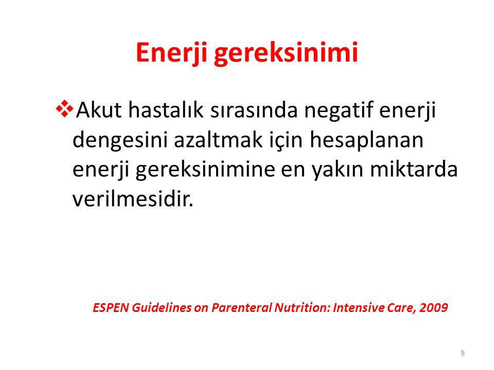 Protein gereksinimi  Yeterli enerji desteği ile birlikte dengeli amino asit solüsyonu 1.3-1.5 g/kg ideal vücut ağırlığı/gün olarak infüze edilmelidir  YB hastalarında PN endike olduğunda amino asid solüsyonu 0.2-0.4 g/kg/gün L-glutamin içermelidir (Örn; 0.3-0.6 g/kg/gün alanil- glutamin dipeptid) ESPEN Guidelines on Parenteral Nutrition: Intensive Care, 2009 20