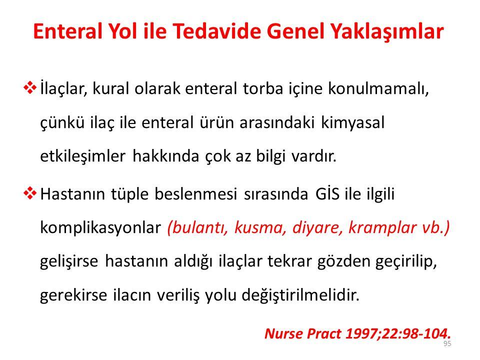 Enteral Yol ile Tedavide Genel Yaklaşımlar  İlaçlar, kural olarak enteral torba içine konulmamalı, çünkü ilaç ile enteral ürün arasındaki kimyasal et