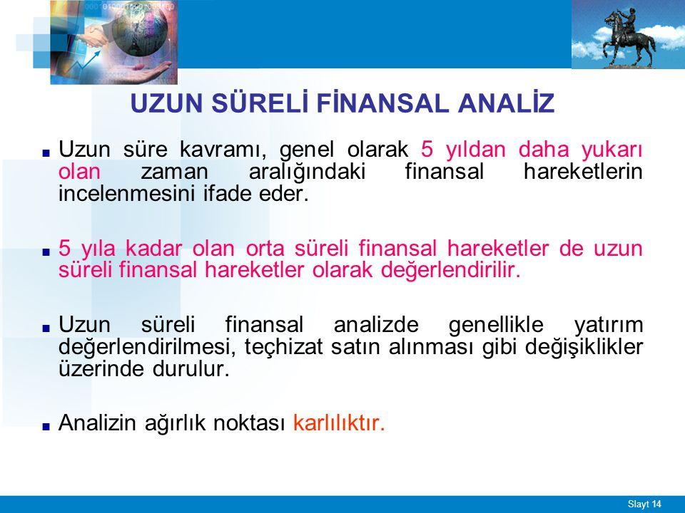 Slayt 14 UZUN SÜRELİ FİNANSAL ANALİZ ■ Uzun süre kavramı, genel olarak 5 yıldan daha yukarı olan zaman aralığındaki finansal hareketlerin incelenmesin