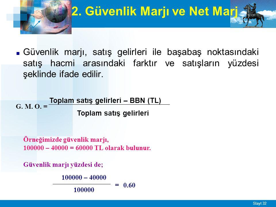 Slayt 32 2. Güvenlik Marjı ve Net Marj ■ Güvenlik marjı, satış gelirleri ile başabaş noktasındaki satış hacmi arasındaki farktır ve satışların yüzdesi