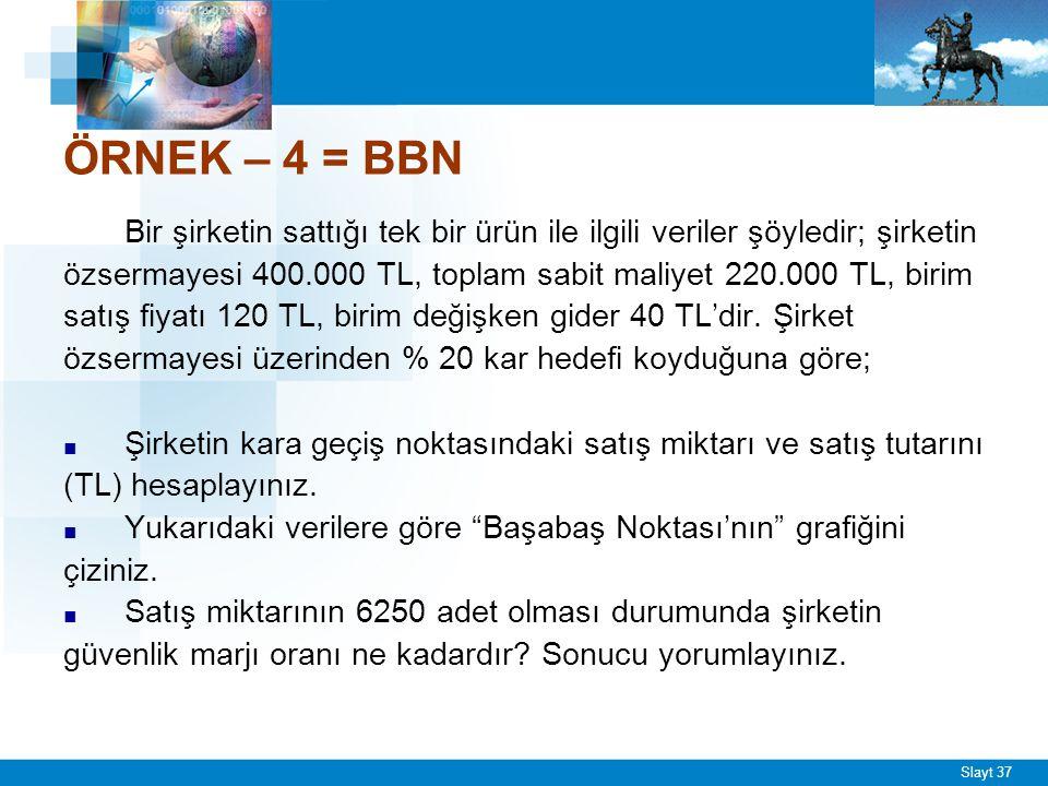 Slayt 37 ÖRNEK – 4 = BBN Bir şirketin sattığı tek bir ürün ile ilgili veriler şöyledir; şirketin özsermayesi 400.000 TL, toplam sabit maliyet 220.000