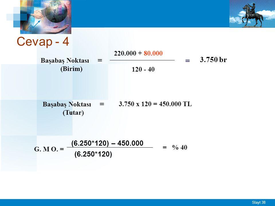 Slayt 38 Cevap - 4 Başabaş Noktası = (Birim) 220.000 + 80.000 120 - 40 = 3.750 br Başabaş Noktası = (Tutar) 3.750 x 120 = 450.000 TL G. M O. = (6.250*