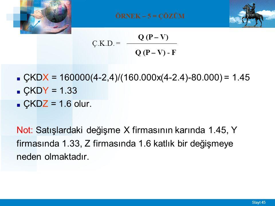 Slayt 45 ■ ÇKDX = 160000(4-2,4)/(160.000x(4-2.4)-80.000) = 1.45 ■ ÇKDY = 1.33 ■ ÇKDZ = 1.6 olur. Not: Satışlardaki değişme X firmasının karında 1.45,