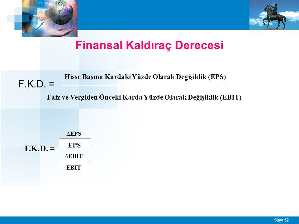 Slayt 52 F.K.D. = Finansal Kaldıraç Derecesi Hisse Başına Kardaki Yüzde Olarak Değişiklik (EPS) Faiz ve Vergiden Önceki Karda Yüzde Olarak Değişiklik