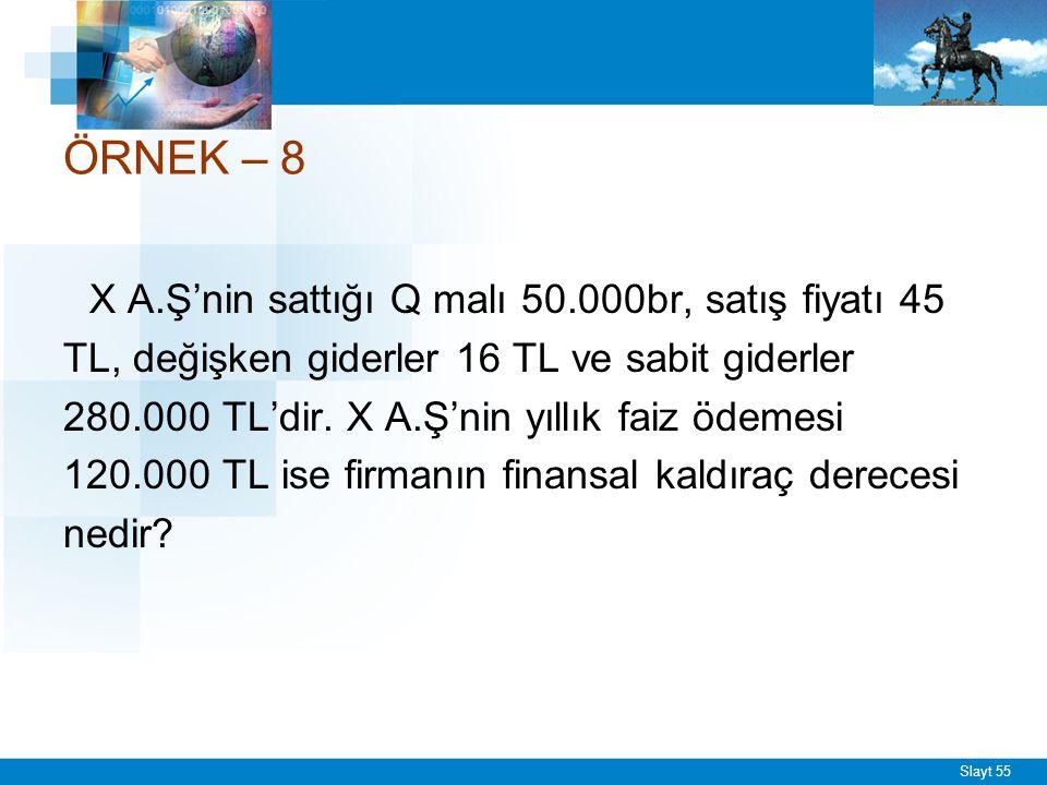 Slayt 55 ÖRNEK – 8 X A.Ş'nin sattığı Q malı 50.000br, satış fiyatı 45 TL, değişken giderler 16 TL ve sabit giderler 280.000 TL'dir. X A.Ş'nin yıllık f