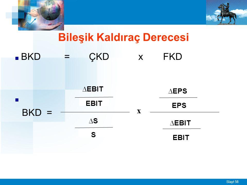 Slayt 58 ■ BKD =ÇKD x FKD ■ Bileşik Kaldıraç Derecesi ∆EBIT EBIT ∆S S x ∆EBIT EBIT ∆EPS EPS BKD =