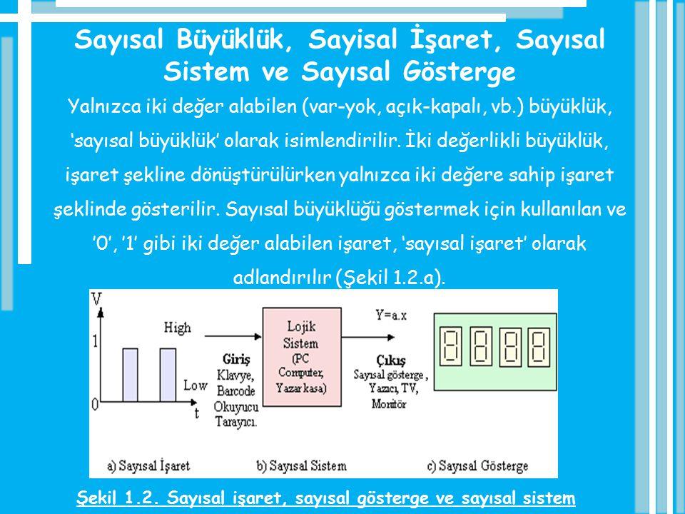 Sayısal Büyüklük, Sayisal İşaret, Sayısal Sistem ve Sayısal Gösterge Yalnızca iki değer alabilen (var-yok, açık-kapalı, vb.) büyüklük, 'sayısal büyükl