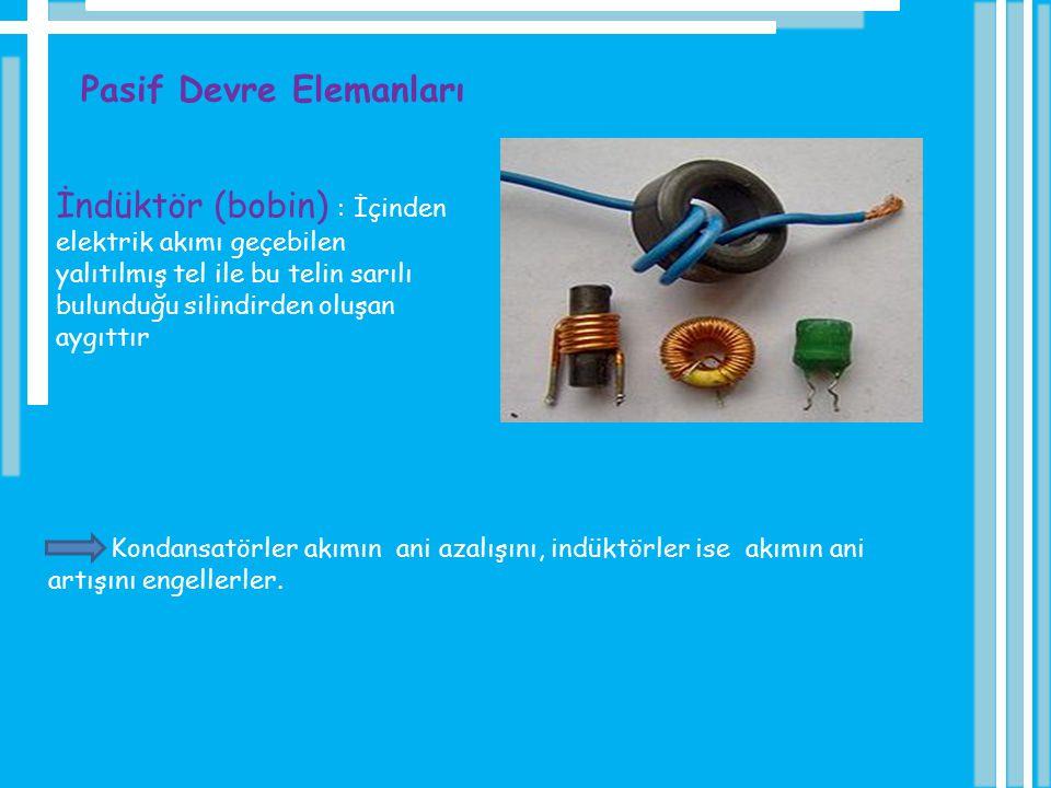 Pasif Devre Elemanları İndüktör (bobin) : İçinden elektrik akımı geçebilen yalıtılmış tel ile bu telin sarılı bulunduğu silindirden oluşan aygıttır Ko