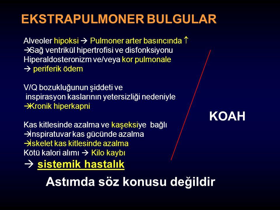 EKSTRAPULMONER BULGULAR Astımda söz konusu değildir Alveoler hipoksi  Pulmoner arter basıncında   Sağ ventrikül hipertrofisi ve disfonksiyonu Hiper