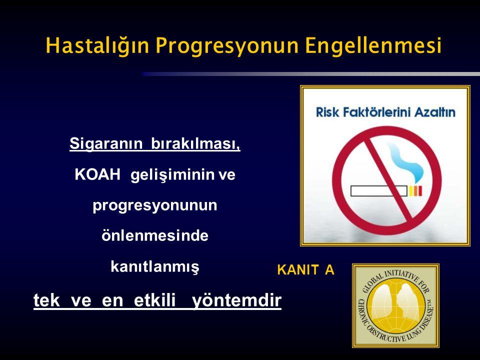 KANIT A Sigaranın bırakılması, KOAH gelişiminin ve progresyonunun önlenmesinde kanıtlanmış tek ve en etkili yöntemdir Hastalığın Progresyonun Engellen