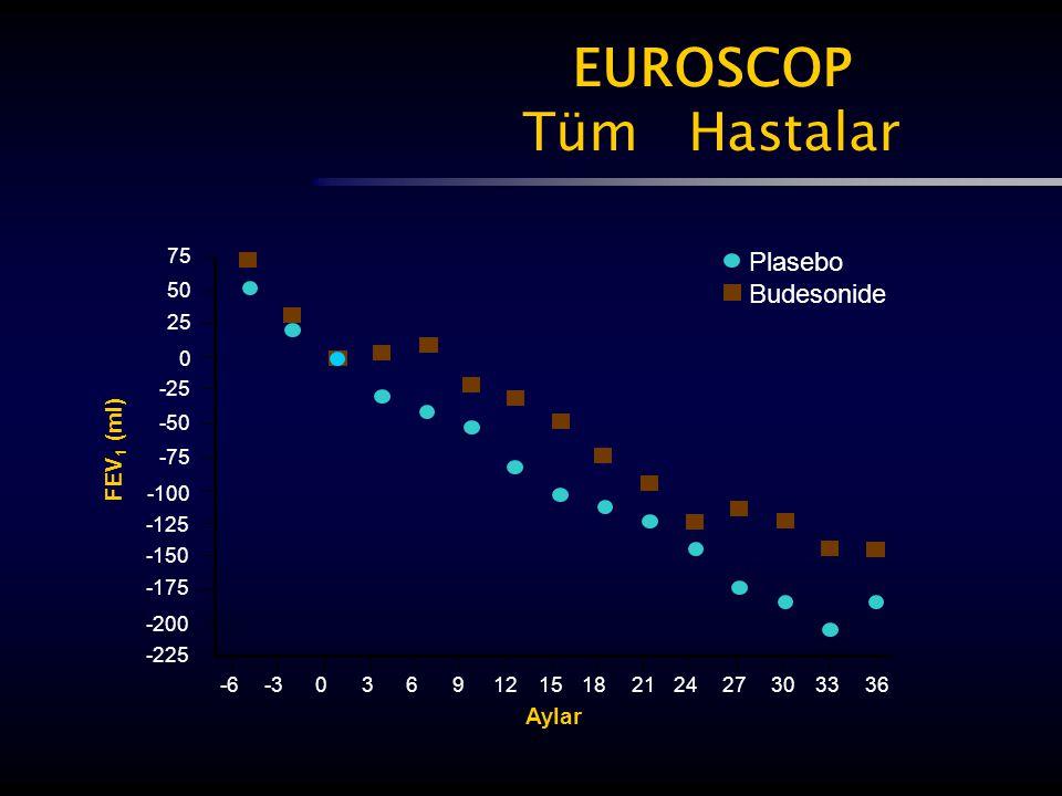 EUROSCOP Tüm Hastalar 75 50 25 0 -25 -50 -75 -100 -125 -150 -175 -200 -225 -6-30369121518212427303336 FEV 1 (ml) Aylar Plasebo Budesonide