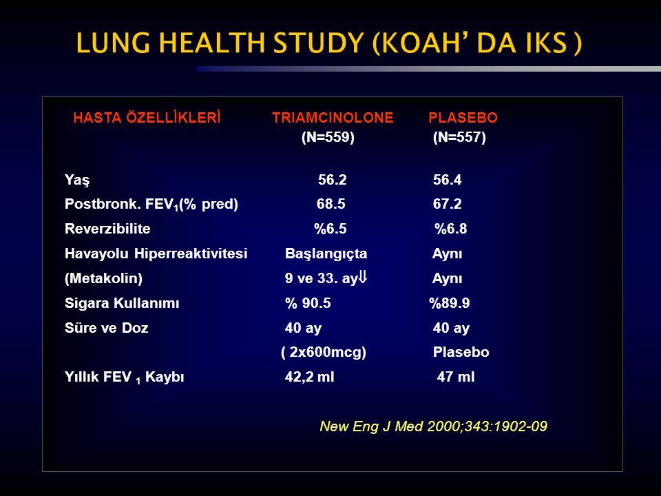 LUNG HEALTH STUDY (KOAH' DA IKS ) HASTA ÖZELLİKLERİ TRIAMCINOLONE PLASEBO (N=559) (N=557) Yaş 56.2 56.4 Postbronk. FEV 1 (% pred) 68.5 67.2 Reverzibil