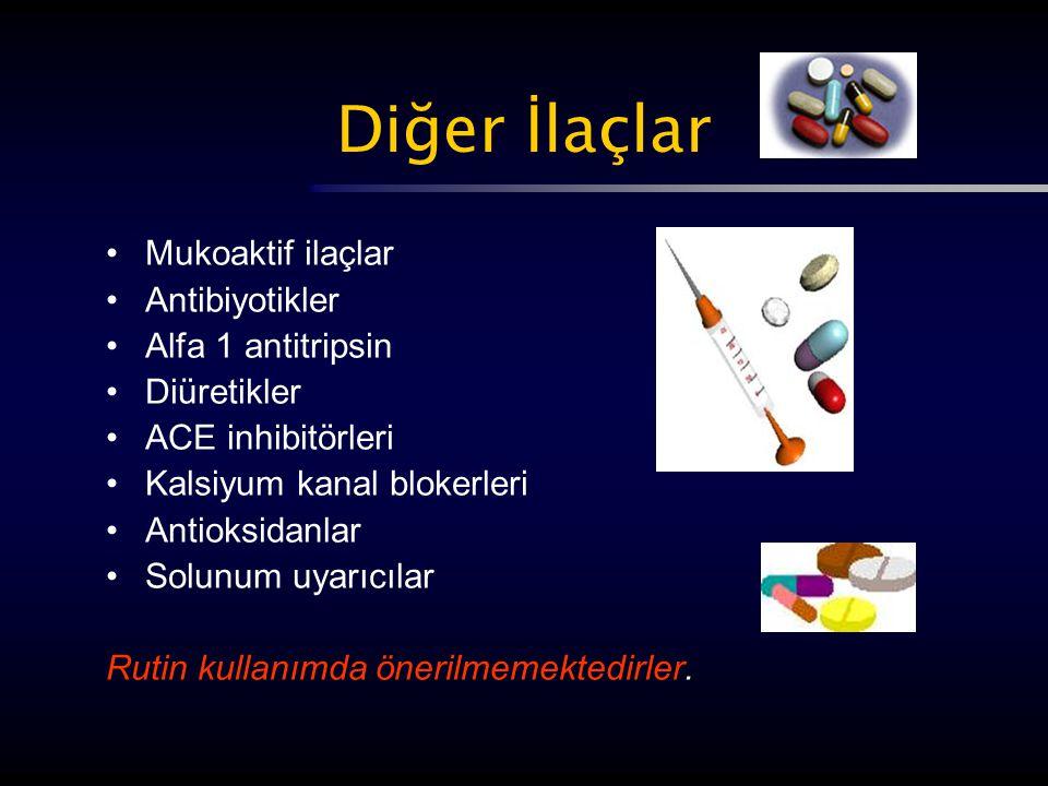 Diğer İlaçlar Mukoaktif ilaçlar Antibiyotikler Alfa 1 antitripsin Diüretikler ACE inhibitörleri Kalsiyum kanal blokerleri Antioksidanlar Solunum uyarı