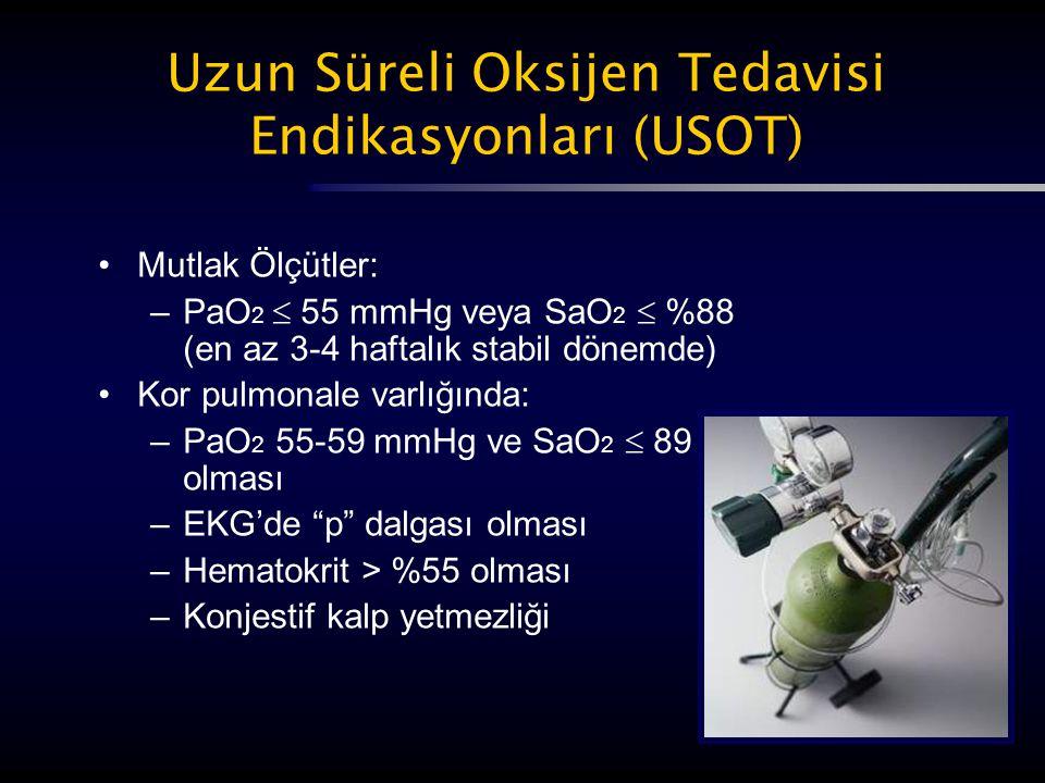 Uzun Süreli Oksijen Tedavisi Endikasyonları (USOT) Mutlak Ölçütler: –PaO 2  55 mmHg veya SaO 2  %88 (en az 3-4 haftalık stabil dönemde) Kor pulmonal