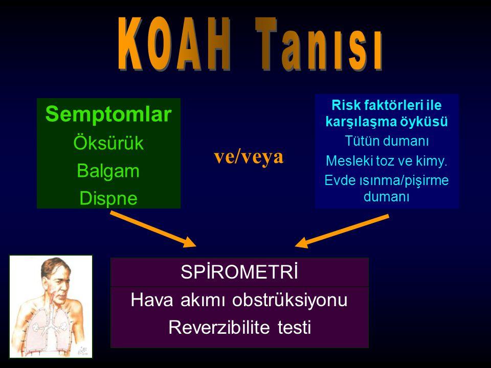 KOAH'da Akciğer Rehabilitasyonu Rehabilitasyon eğitimi Psikososyal destek Fizyoterapi –Solunum egzersizleri –Kontrollü solunum teknikleri –Balgamın mobilizasyonu –Öksürme ve zorlu ekspirasyon tekniği –Egzersiz eğitimi Beslenme desteği