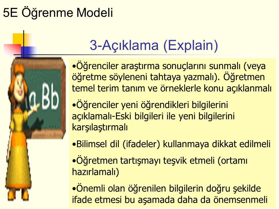 Öğrenciler araştırma sonuçlarını sunmalı (veya öğretme söyleneni tahtaya yazmalı). Öğretmen temel terim tanım ve örneklerle konu açıklanmalı Öğrencile