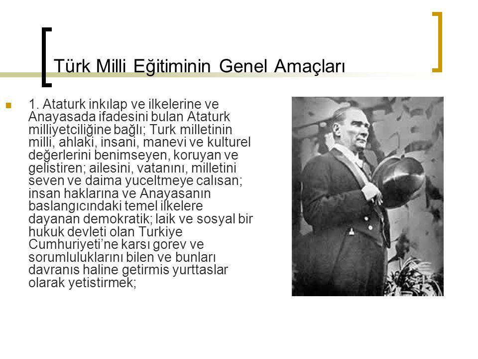 Türk Milli Eğitiminin Genel Amaçları 1. Ataturk inkılap ve ilkelerine ve Anayasada ifadesini bulan Ataturk milliyetciliğine bağlı; Turk milletinin mil