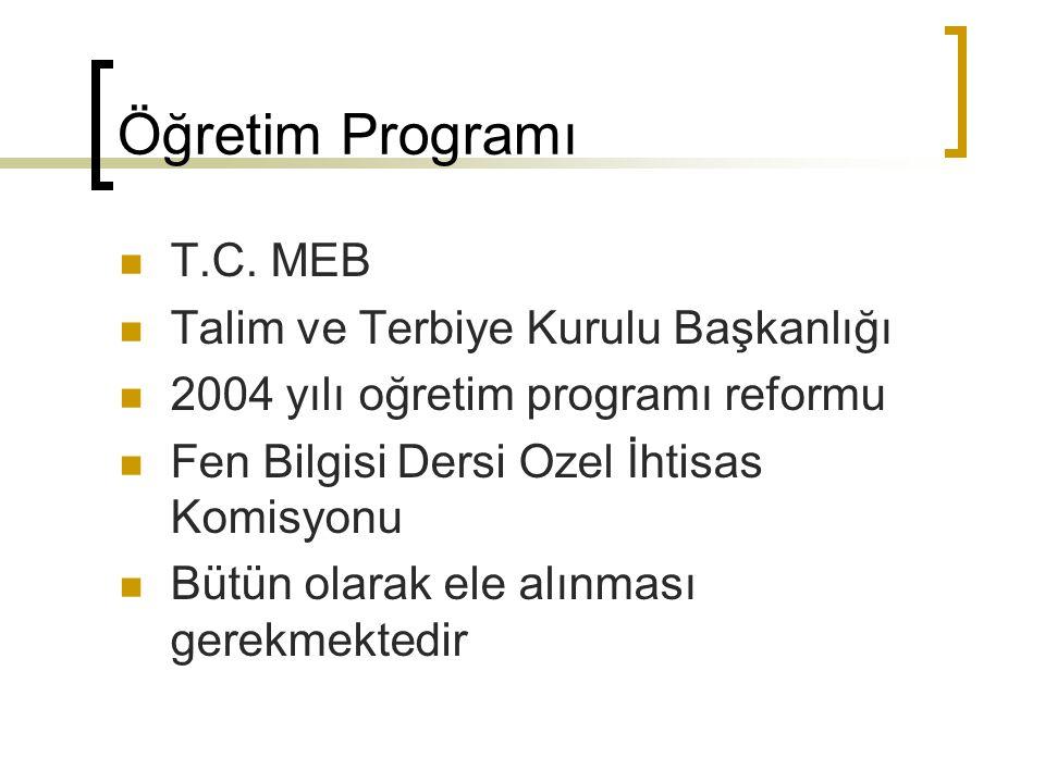 Öğretim Programı T.C. MEB Talim ve Terbiye Kurulu Başkanlığı 2004 yılı oğretim programı reformu Fen Bilgisi Dersi Ozel İhtisas Komisyonu Bütün olarak