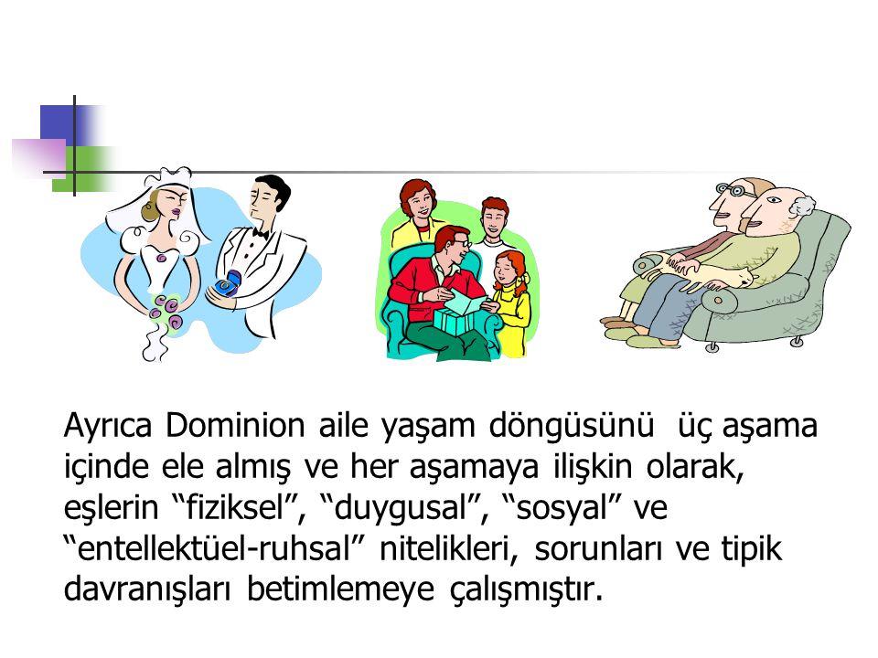 """Ayrıca Dominion aile yaşam döngüsünü üç aşama içinde ele almış ve her aşamaya ilişkin olarak, eşlerin """"fiziksel"""", """"duygusal"""", """"sosyal"""" ve """"entellektüe"""