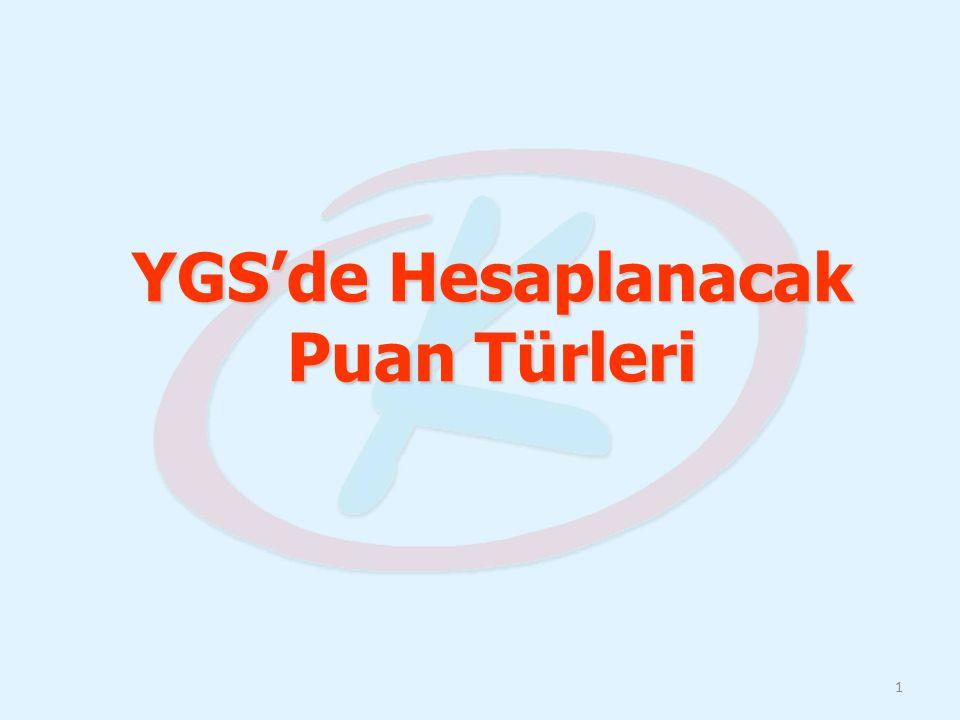 YGS'de Hesaplanacak Puan Türleri 1