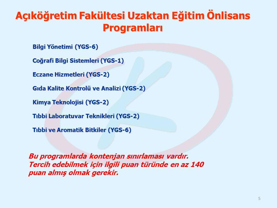 Açıköğretim Fakültesi Uzaktan Eğitim Önlisans Programları Bilgi Yönetimi (YGS-6) Coğrafi Bilgi Sistemleri (YGS-1) Eczane Hizmetleri (YGS-2) Gıda Kalit