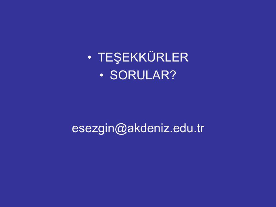 TEŞEKKÜRLER SORULAR? esezgin@akdeniz.edu.tr
