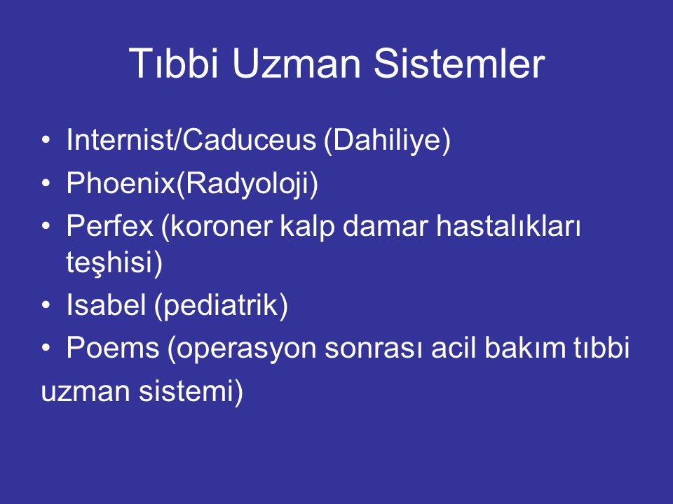 Tıbbi Uzman Sistemler Internist/Caduceus (Dahiliye) Phoenix(Radyoloji) Perfex (koroner kalp damar hastalıkları teşhisi) Isabel (pediatrik) Poems (oper