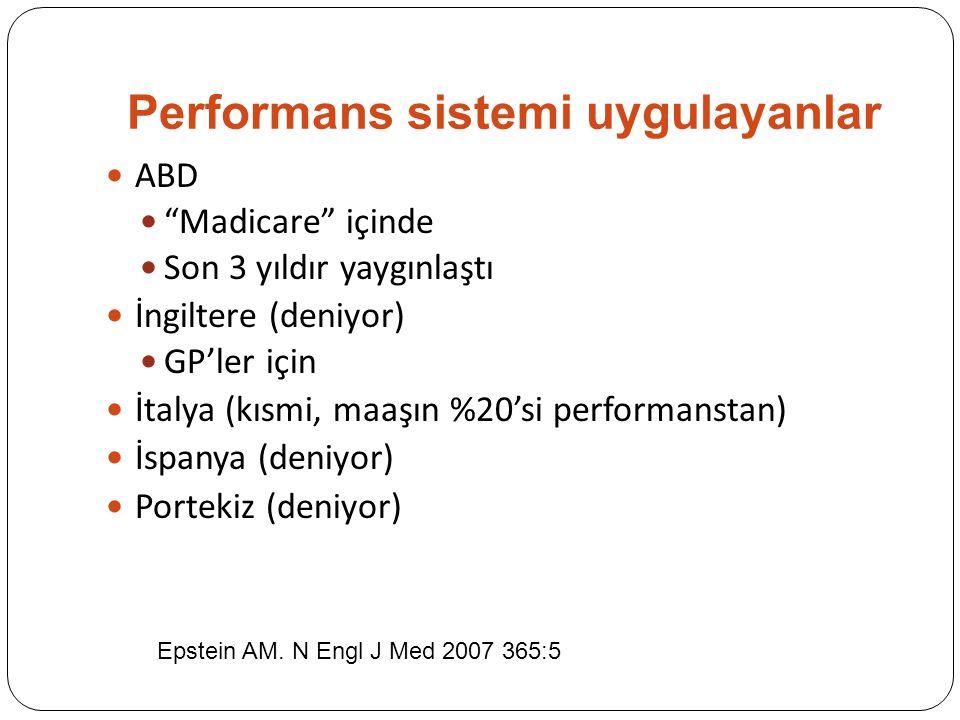 Performans sistemi uygulayanlar ABD Madicare içinde Son 3 yıldır yaygınlaştı İngiltere (deniyor) GP'ler için İtalya (kısmi, maaşın %20'si performanstan) İspanya (deniyor) Portekiz (deniyor) Epstein AM.