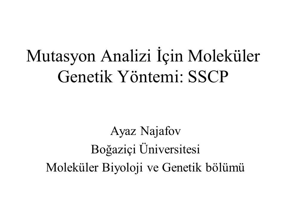 Mutasyon Analizi İçin Moleküler Genetik Yöntemi: SSCP Ayaz Najafov Boğaziçi Üniversitesi Moleküler Biyoloji ve Genetik bölümü
