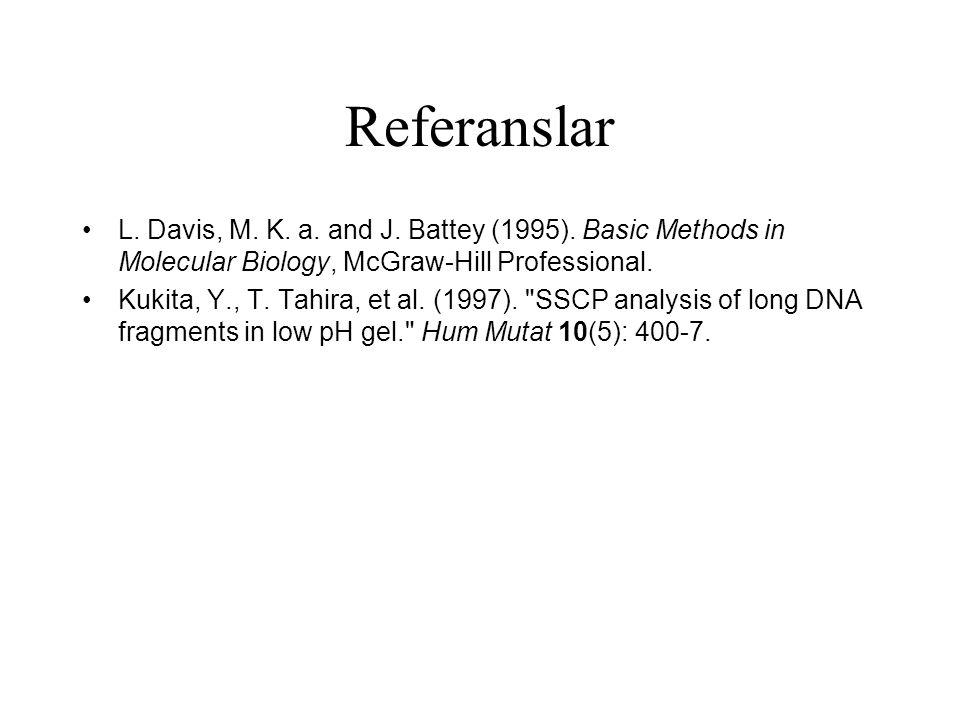 Referanslar L. Davis, M. K. a. and J. Battey (1995). Basic Methods in Molecular Biology, McGraw-Hill Professional. Kukita, Y., T. Tahira, et al. (1997