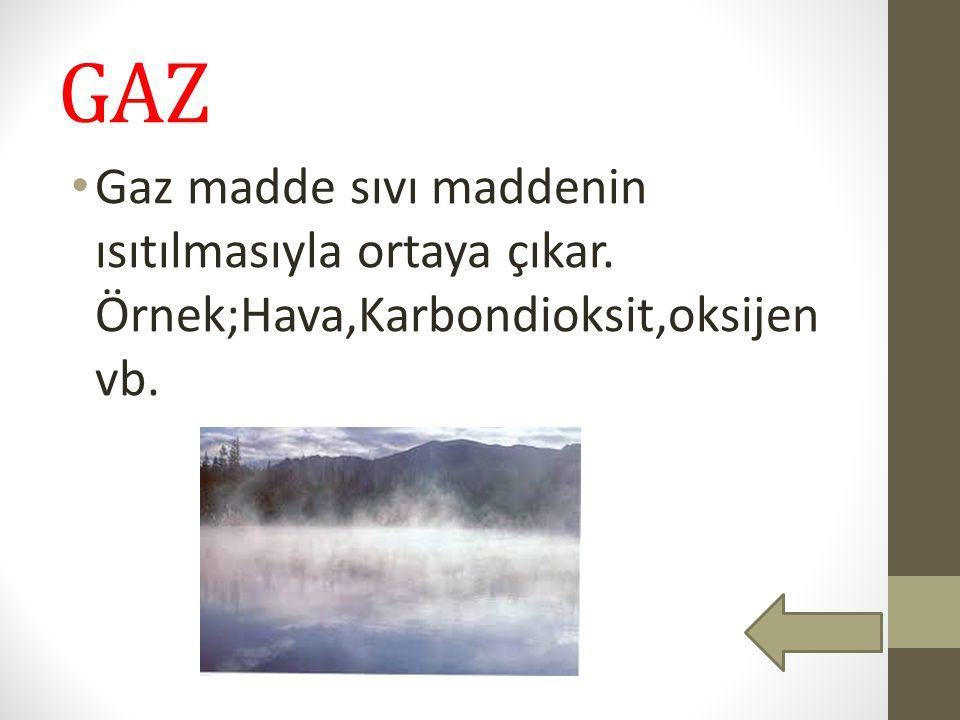 GAZ Gaz madde sıvı maddenin ısıtılmasıyla ortaya çıkar. Örnek;Hava,Karbondioksit,oksijen vb.
