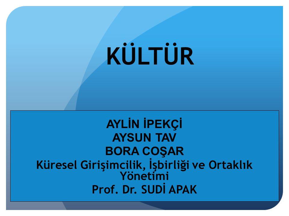 KÜLTÜR AYLİN İPEKÇİ AYSUN TAV BORA COŞAR Küresel Girişimcilik, İşbirliği ve Ortaklık Yönetimi Prof. Dr. SUDİ APAK