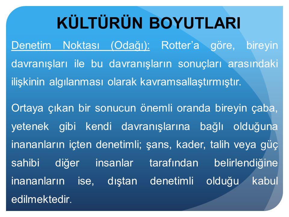 Denetim Noktası (Odağı): Rotter'a göre, bireyin davranışları ile bu davranışların sonuçları arasındaki ilişkinin algılanması olarak kavramsallaştırmış